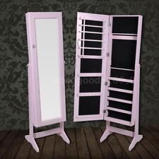 Armadietto portagioie autoportante con specchio rosa N9Z8