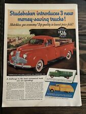 1941 Studebaker Vintage Ad Introduces 3 New Money Saving Trucks