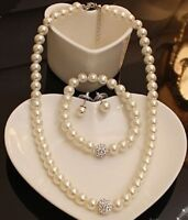 PAVED DIAMANTE CRYSTAL BALL CREAM GLASS PEARL NECKLACE, EARRINGS, BRACELET SET