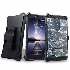 For ZTE Zmax Pro Z981 Hybrid Belt Clip Holster Kickstand Camo Case + Screen