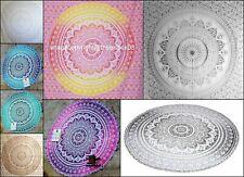 Indian Cotton Ombre Mandala Round Beach Throw Tapestry Hippie Roundie Home Decor