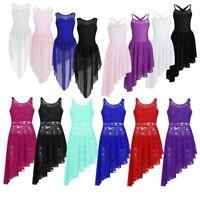 Girls Lyrical Dance Dress Kids Ballet Leotard High-low Skirt Dancewear Costumes