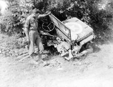 WW2 Photo WWII US Army Jeep Blown in Half  WWII World War Two  / 3061