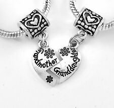 grandmother/ granddaughter charm set 2 charms Fit European style bracelet gift