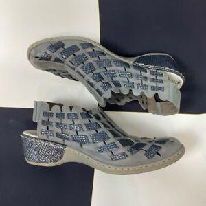 Rieker Anti Stress Grey Blue Metallic Leather Comfort Shoes Size 39