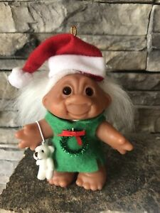 "Dam Troll Doll! 5"" White Hair Amber Eyes! 1986! Christmas Girl! Wreath & Bear!"
