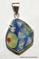 ANCIENT ROMANO -  EGYPTIAN MOSAIC GLASS FRAGMENT  ON A SILVER FRAME PENDANT!