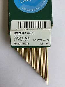 silver solder Brazetec 3076 (30%ag) 4 rods x 250mm 1.5mm flux FREEPOST!