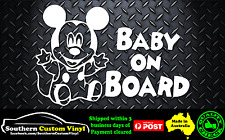 Baby Mickey Baby on board Car Window Sticker Decal
