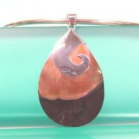 """2 1/4""""  Natural Black Mother of Pearl Shell Handmade Pendant 925 Sterling Silver"""