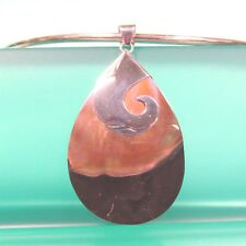 "2 1/4""  Natural Black Mother of Pearl Shell Handmade Pendant 925 Sterling Silver"