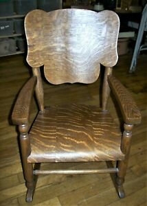 Antique Bent Wood Quarter Sawn Oak Childrens Rocking Chair