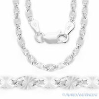 Valentino Link 3mm Italian Chain Necklace in Rhodium-Plated .925 Sterling Silver