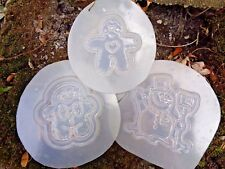 """3 molds  2 gingerbread 2 - 2.5"""" 1  snowman 3""""  poly plastic moulds  all 1/8th"""" T"""