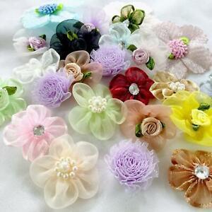 Craft Flower Bag 35pcs Scraps Assorted Flowers Craft Supply Small Fabric Flower