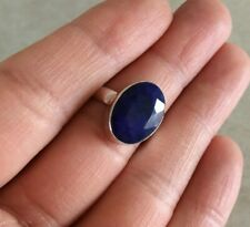 NATURAL OVAL BLUE SAPPHIRE 925 STERLING SILVER RING 7, 7.5, 8, 8.5, 9 CHOOSE