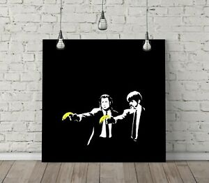 BANKSY PULP FICTION SQUARE CANVAS WALL ART FLOAT EFFECT/FRAME/POSTER PRINT-BLACK