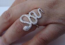 925 STERLING SILVER LADIES DESIGNERS SNAKE RING W/1.50CT DIAMONDS /SZ 5,6,7,8,9