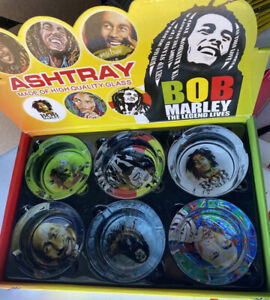 Bob Marley 6 SIX Ash Tray Set Collectible Thick Cartoon