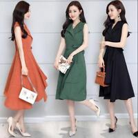 Womens Slim Sleeveless Dress Linen Slim Swing  Belts V Neck Gown Cotton