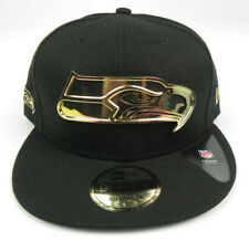 SEATTLE SEAHAWKS NFL NEW ERA 9FIFTY FULL GOLD METAL BADGE SNAPBACK HAT CAP NEW!
