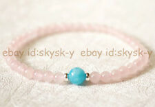 4mm Pink Rose Quartz & 6mm Blue Amazonite Round Beads Elastic Bracelet 7.5''