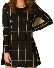 Unbranded Round Neck Checked Mini Dresses for Women