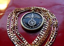 "1937-1939 German Brass Eagle Bezel Pendant on a 24"" Gold Filled Chain"