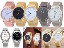 New Geneva Women Large Face Stainless Steel Mesh Analog Watch Various Designs UK