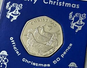 2007 Isle of Man 'Three French Hens' Christmas 50p Coin (BU UNC) in Display Case