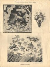 Stampa antica DECORAZIONI CINESI RICAMI T. 39-40 CINA CHINA 1920 Antique print