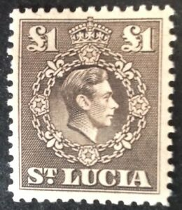 St Lucia 1938 £1.00 sepia stamps mint hinged