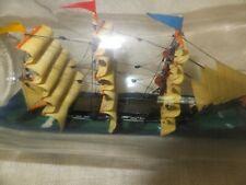 "Ship in a Bottle Vtg Sailing 3 Masted Schooner w Flags 10"" Ships Sport Hobby Art"