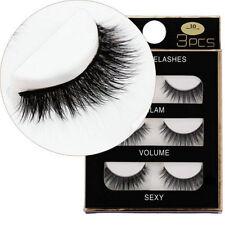 Real Mink Natural Black 100% Cross Long Thick Eye Lashes False Eyelashes 3 Pairs