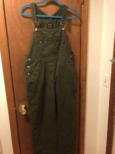 vintage 90s squeeze overalls dark green medium