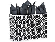 100 Large paper shopping gift bags black & white wholesale bulk 16x6x13 Vogue