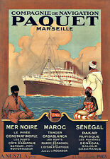 Art Ad Paquet Marseille   Ship Cruise Travel  Deco  Poster Print