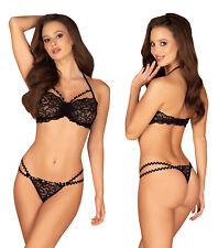 OBSESSIVE Joylace Luxury Super Soft Decorative Lace Bra and Matching Thong Set