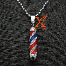 "24"" 3MM Stainless Steel 3D Iced Out Barber Pole Bling Bling Pendant Necklace"