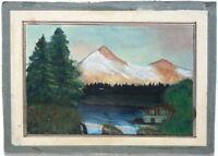 Ölgemälde Ölbild Kunstwerk Sammlerstück - Alpen Bergsee Panorama - sign. I.R.