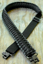 Adjustable Paracord Rifle Gun Sling Strap With Swivels Black & Charcoal Gray