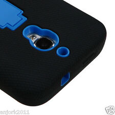 ALCATEL ONE TOUCH FIERCE HYBRID S ARMOR CASE SKIN COVER w/STAND BLACK BLUE