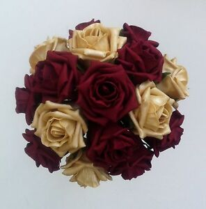 "9"" Burgundy/Gold Roses Brides/Bridesmaids Wedding Bouquet Flowers Flowergirls"