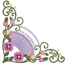 Exotic Curly Floral Corners Machine Embroidery Designs CD 5x7 Brother Janome etc