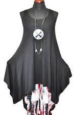 Layered Look A Line Intermediate coupling-dress Black Jersey 44,46,48,50,XL,XXL