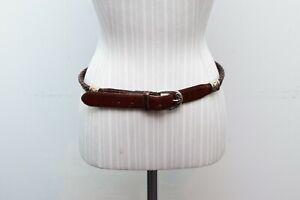 Fossil Brown Leather Silver Medium Womens Belt Western Braided