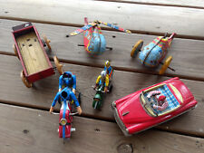 Old Vtg Tin Wind-up Toy Vehicle Lot Helicopters, Motorcycles, Car, And Wagon