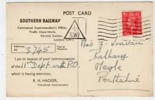 Southern Railway official correspondence card with L/SW1 triangular pmk (C36572)