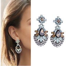 Blue Bib Bubble Crystal Rhinestone Sparkly Statement On Trend Flower Earrings
