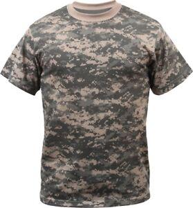Digital Camo Tactical T-Shirt Camouflage Military Tee Short Sleeve Digi Army